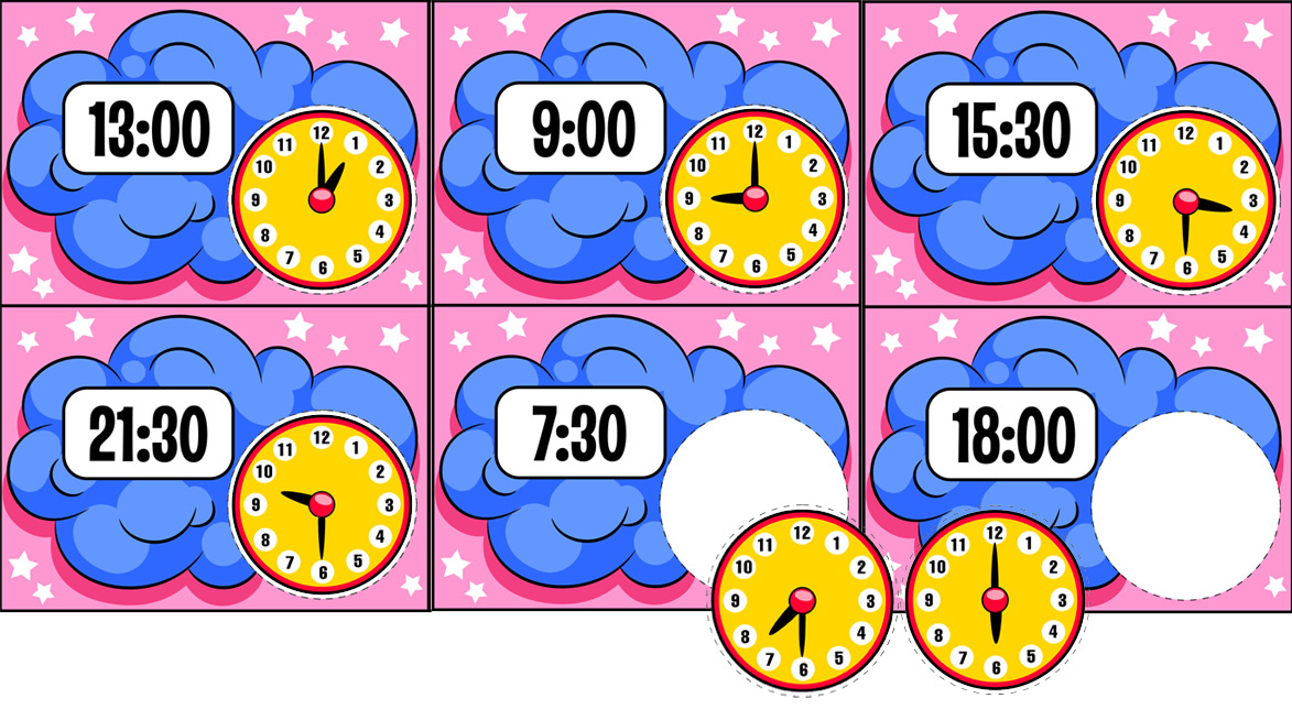 Time-Themed Worksheets With Clocks for Kids