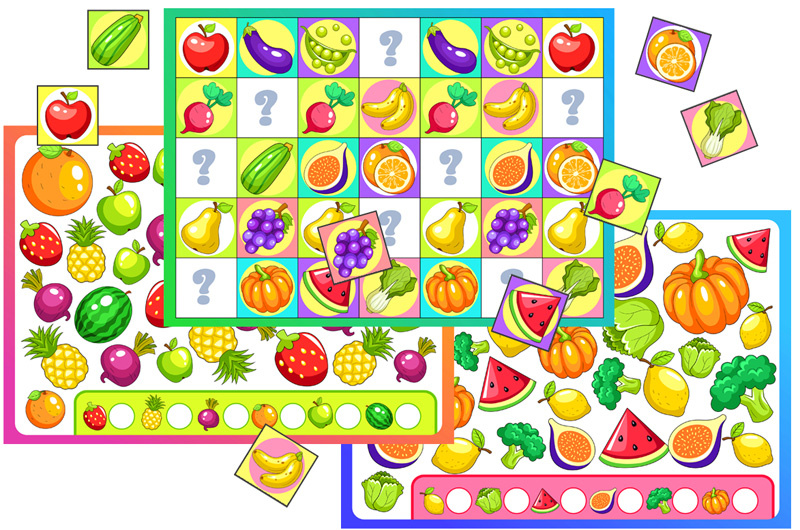 Fruit and Vegetable I Spy Game and Pattern Activity