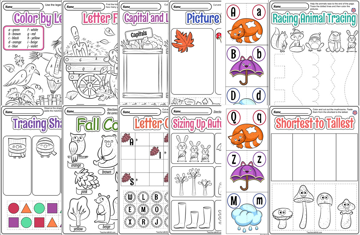 Fall Worksheets and Printables for Preschool
