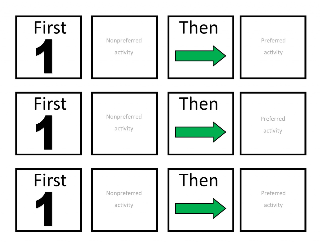 First/Then boards for visual representation of the activity required first and the reward at the end