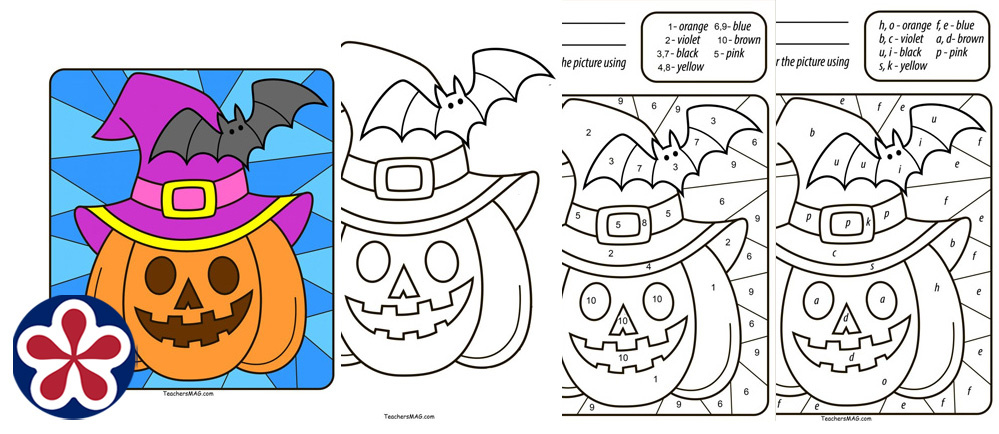 Free Halloween Pumpkin Color by Number/Letter for Preschool