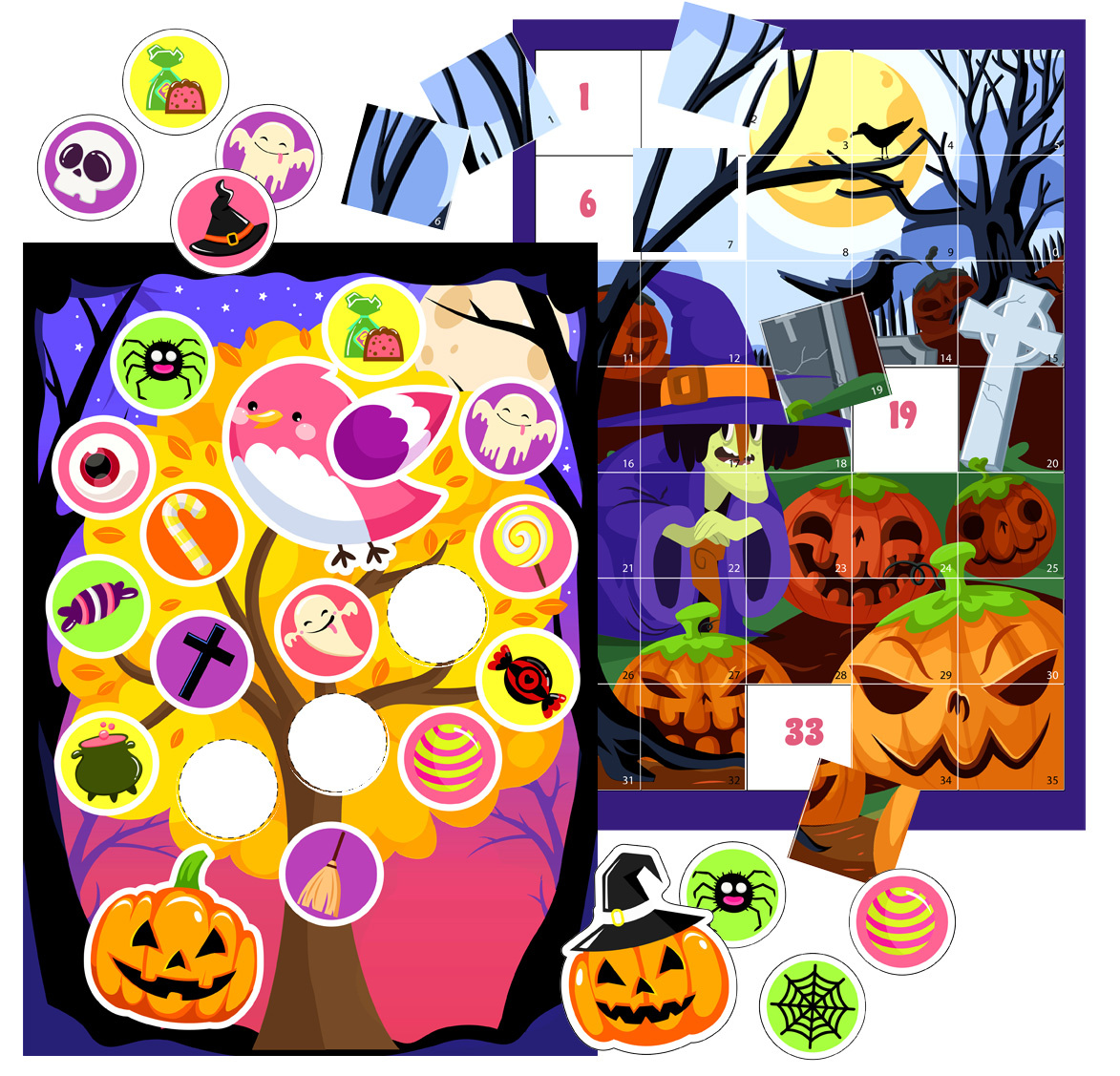 Halloween Printable Activities with Stickers