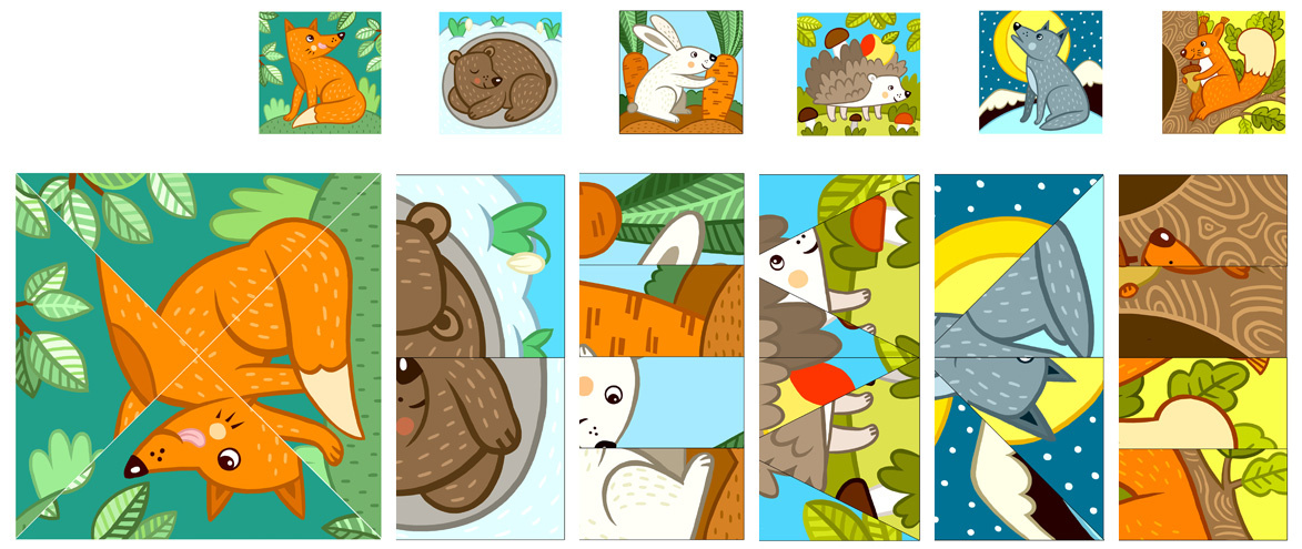 Wild Animals Cut and Paste Puzzles for Preschoolers