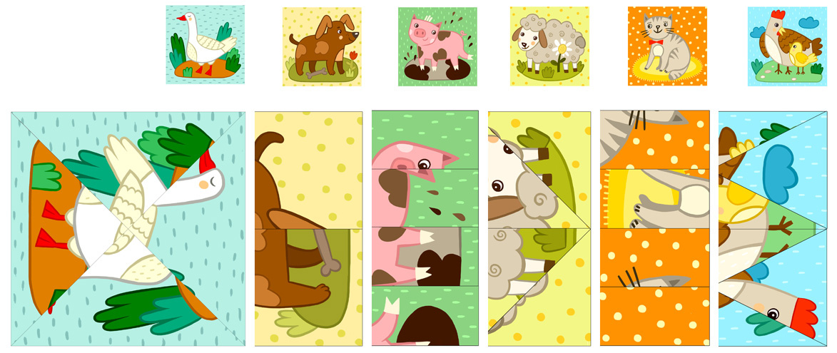 Cut and Paste Farm Animal Puzzles