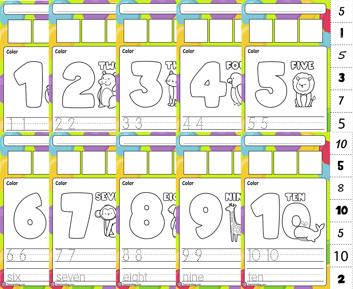 Worksheets For Kindergarten On the Numbers 1 To 10