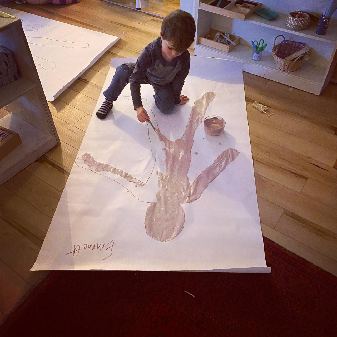 Tracing and Painting Full-Body Self-Portraits