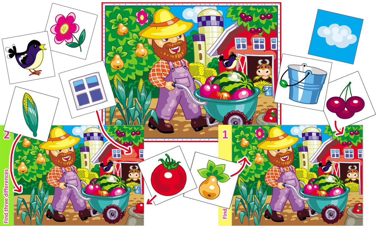 Farm-Themed Find the Differences Printable