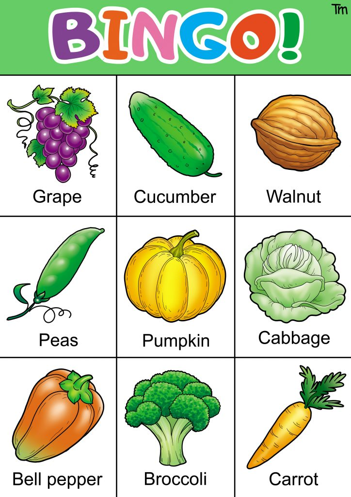 free fruit and vegetable bingo cards