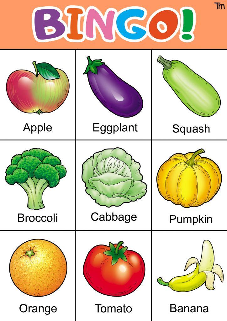 free fruit and vegetable bingo printable
