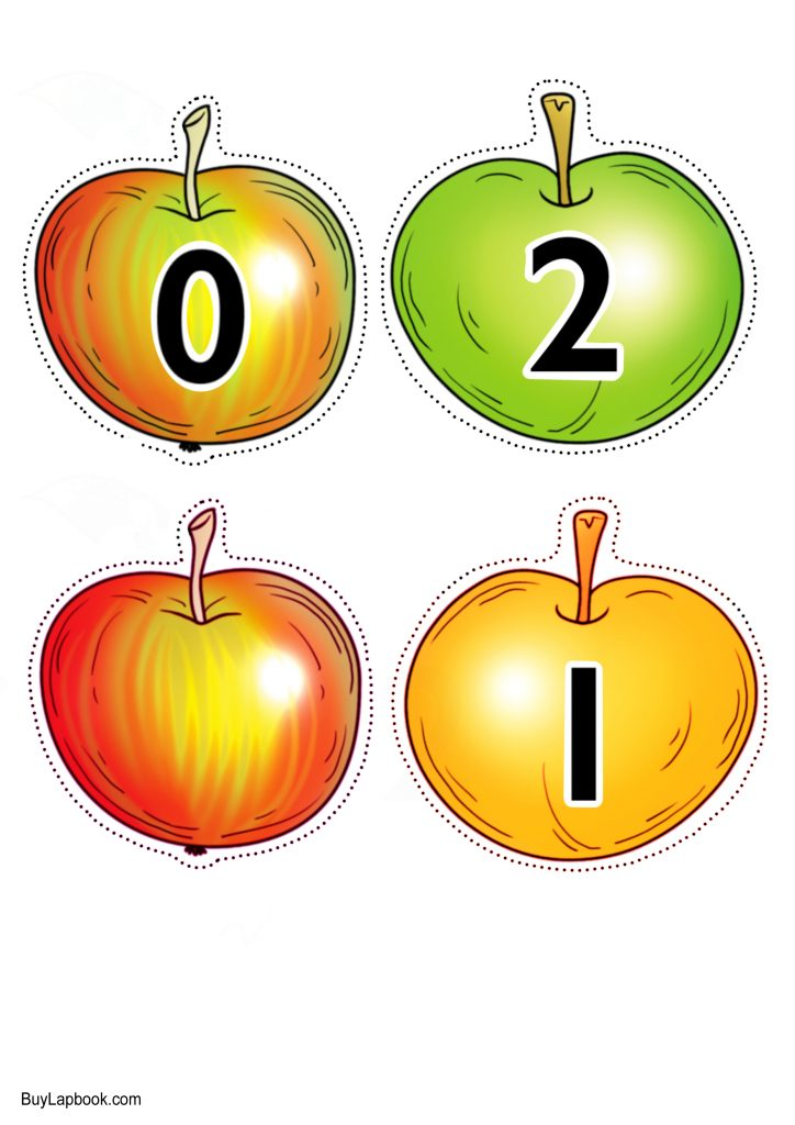 Apple Number Cards Printable for Numbers 0 to 10