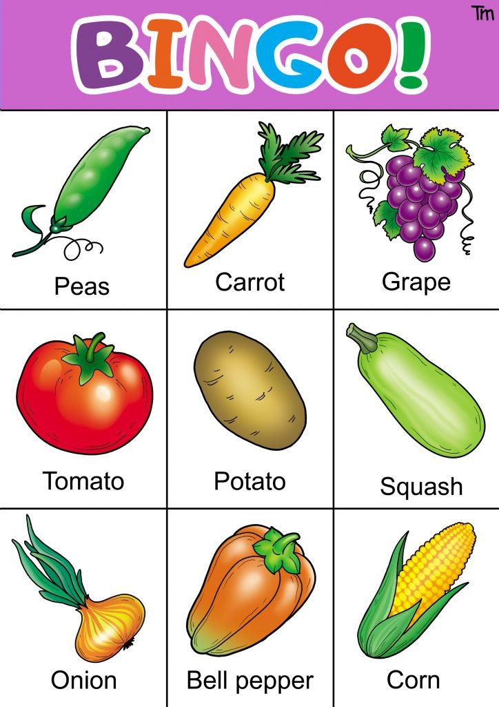 fruit and vegetable bingo free printable