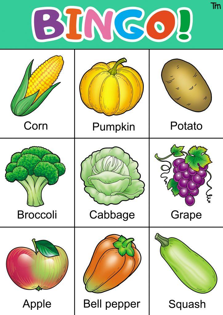 preschool vegetable bingo