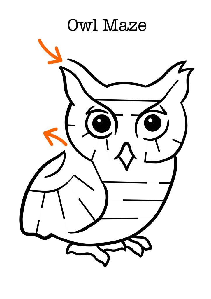 Owl maze worksheet