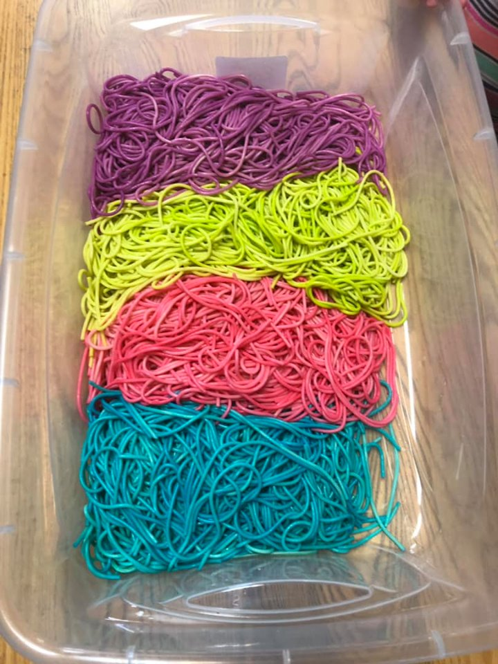 Rainbow Spaghetti Sensory Bin