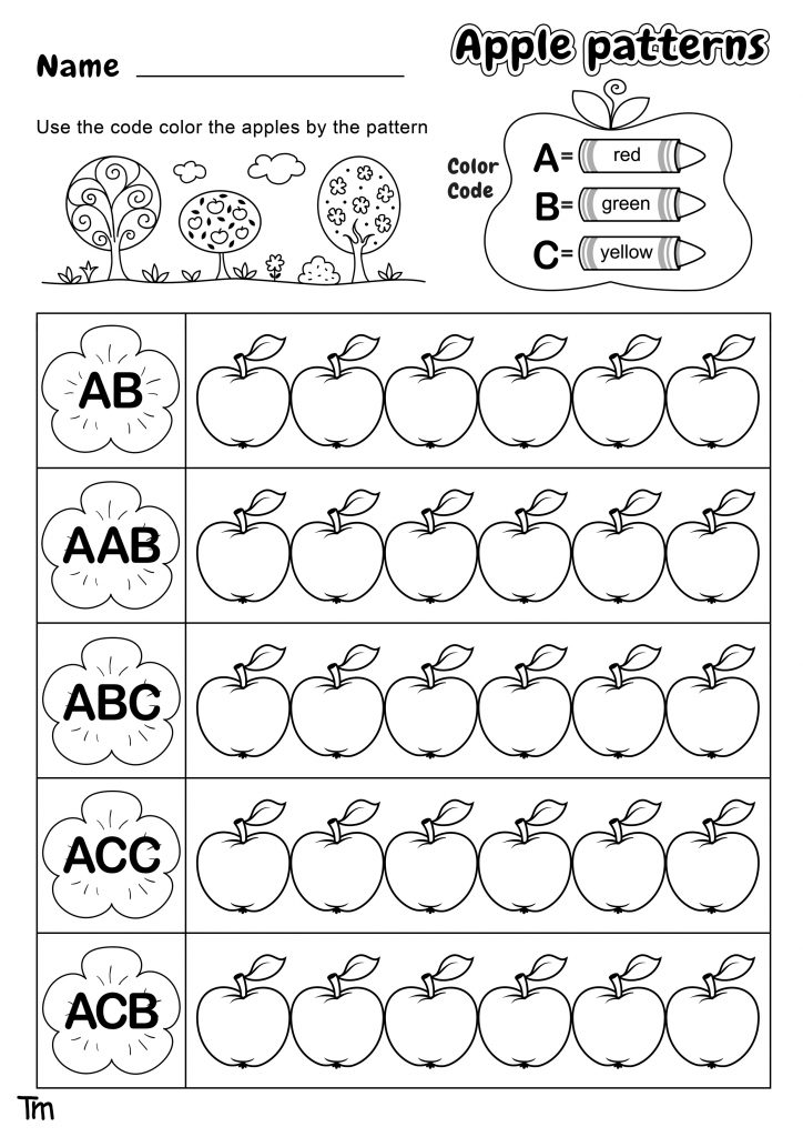 Apple patterns worksheet