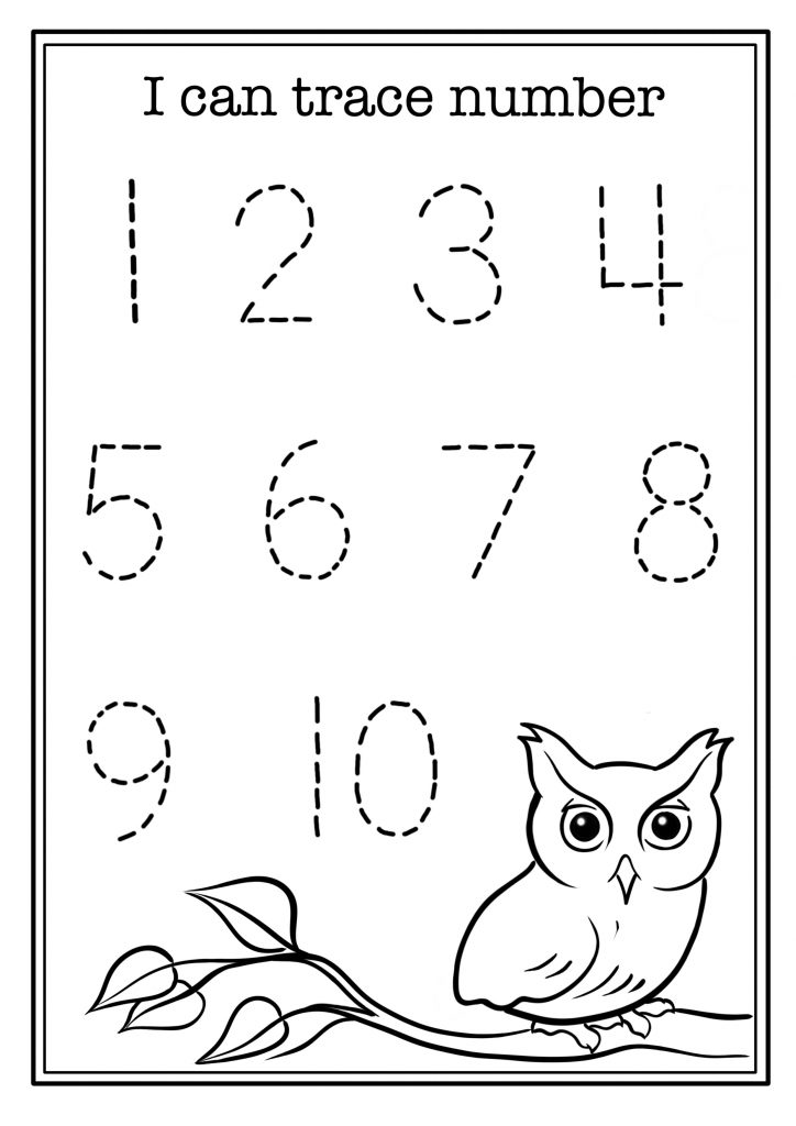 Free math worksheet with owl