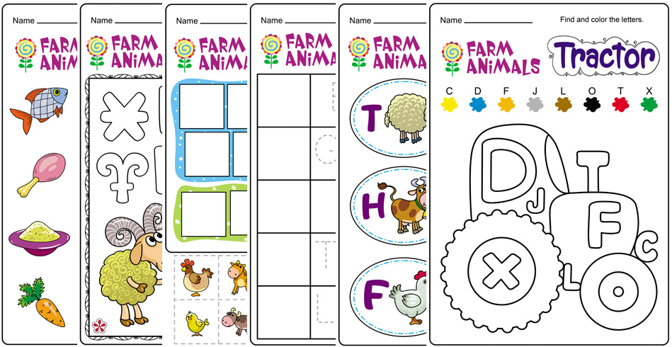 Farm Animals and Letters Worksheet For Kindergarten!