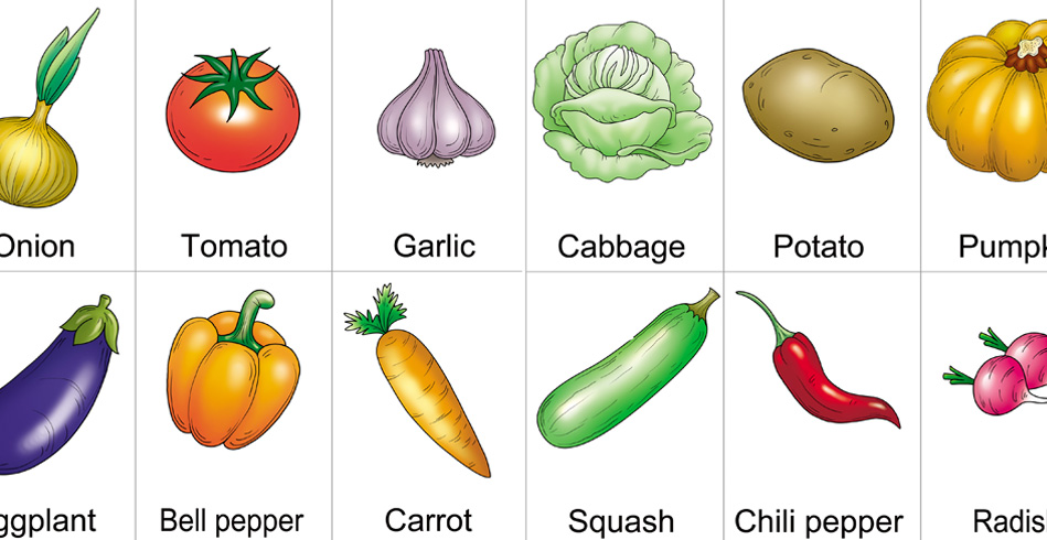 Free Printable Vegetables Flashcards with Names for Preschoolers