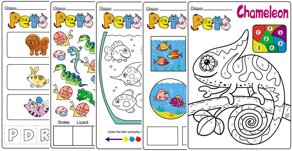 Preschool and Kindergarten Worksheets About Pets