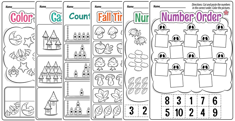 Halloween Math Worksheets for Preschool and Kindergarten Students