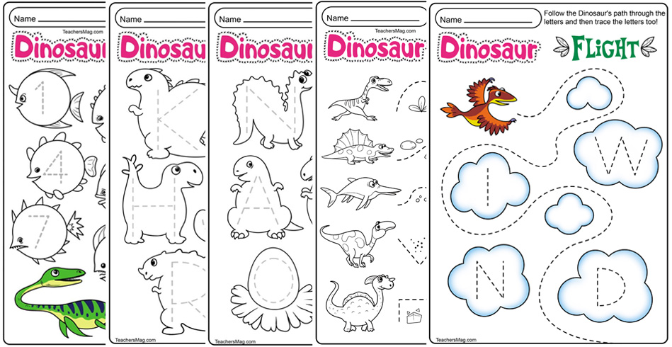 Dinosaur Letters & Number Tracing Worksheets