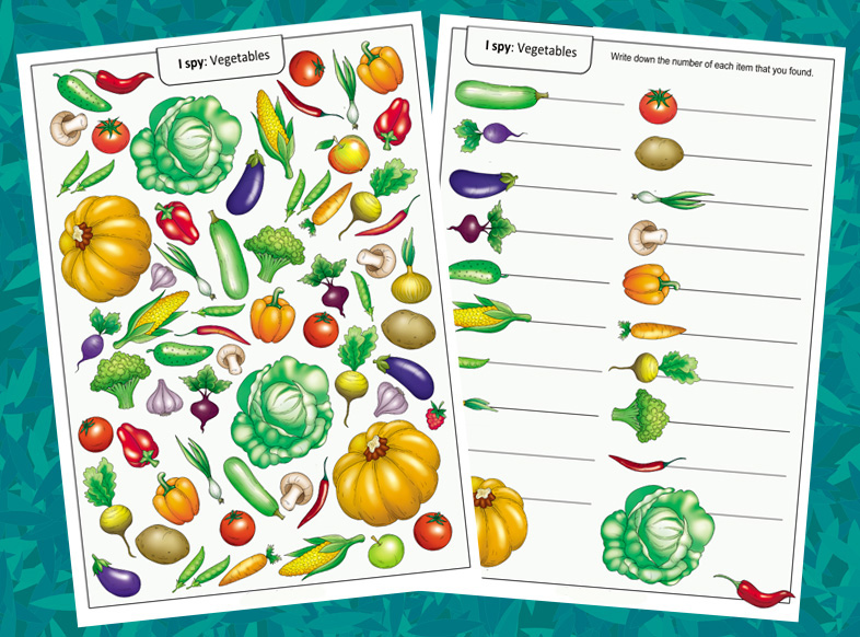 I Spy Game: Vegetables Worksheets for Preschoolers