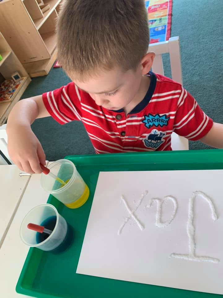Salt, Glue and Watercolor Writing Activity for Preschoolers