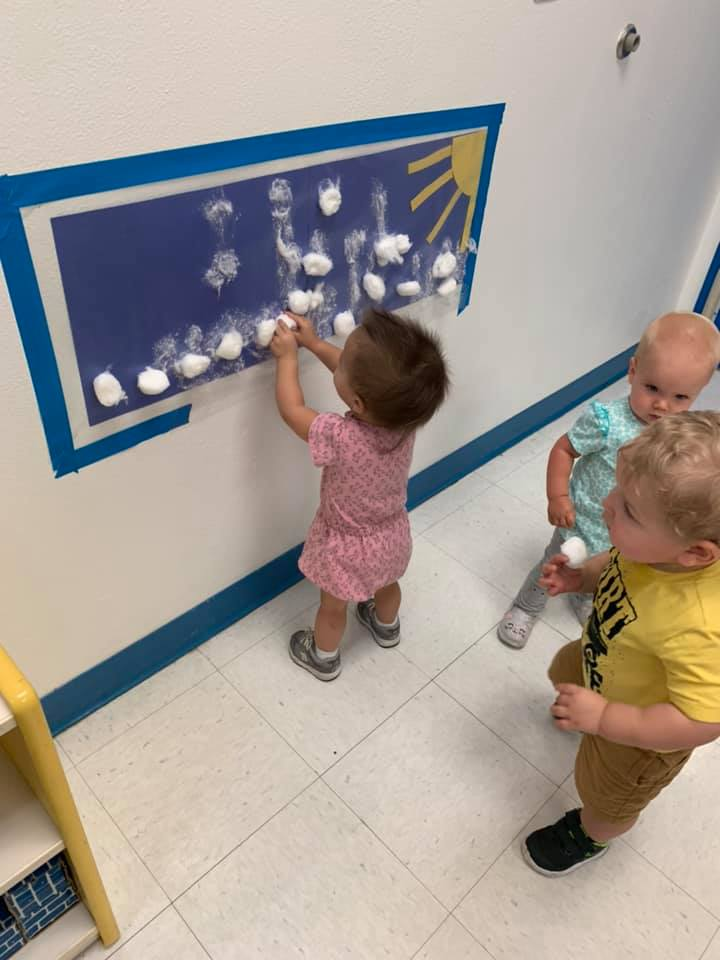 Cloudy Day Sticky Wall Activity for Toddlers