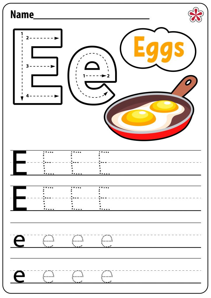 E and Eggs Worksheets