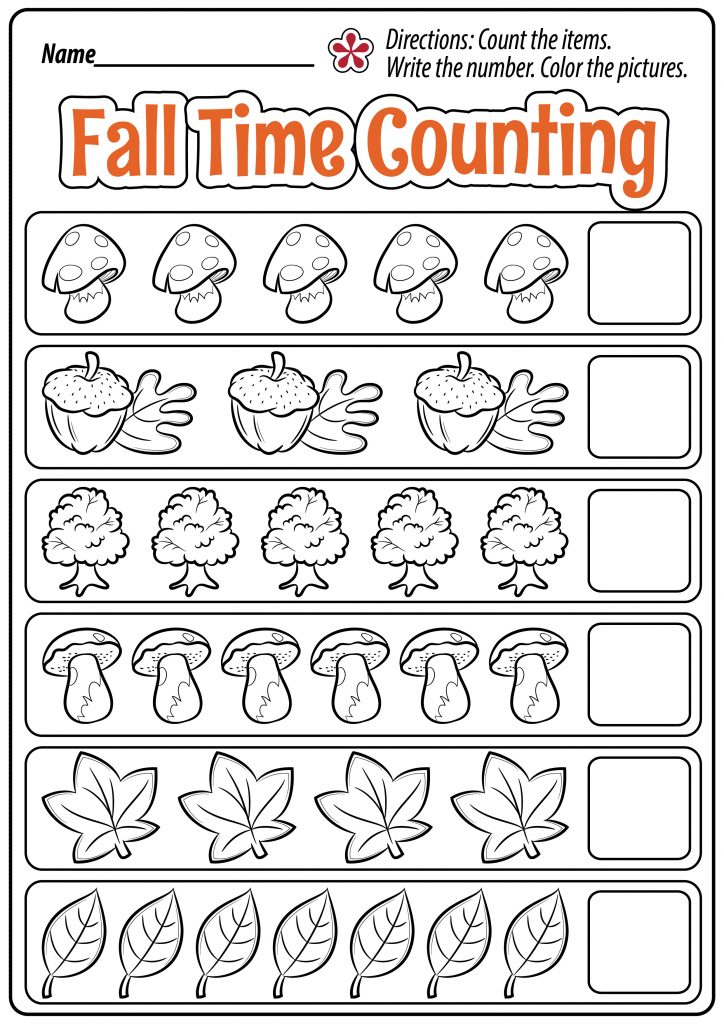 Fall Time Counting Worksheet