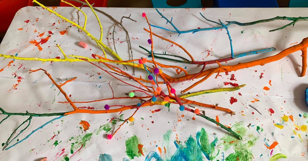 Painted Tree Branch Craft for Preschoolers