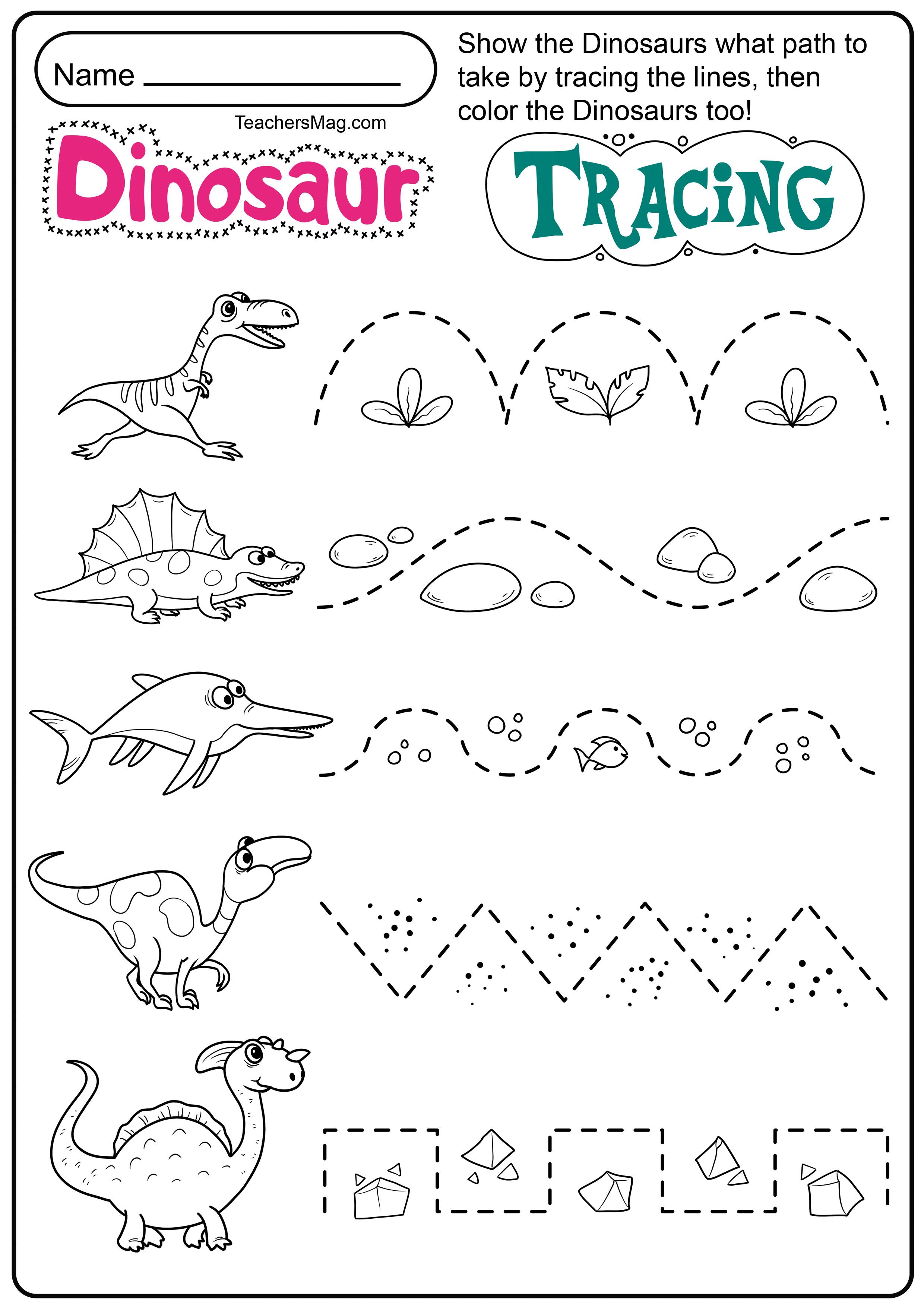 Dinosaur Letters & Number Tracing Worksheets | TeachersMag.com