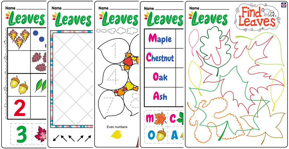 Free Fall Leaves Worksheets for Preschool and Kindergarten
