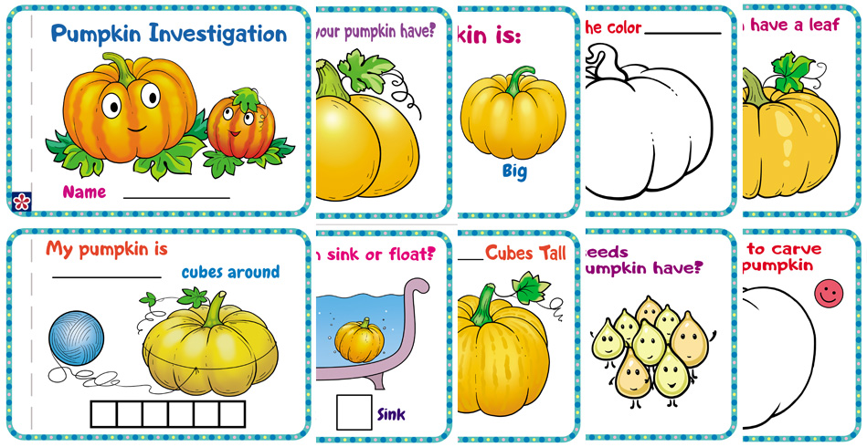 Pumpkin Investigation Book Free Worksheets for Preschoolers