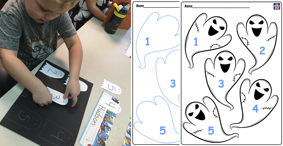 Five Little Ghosts Number Matching Activity
