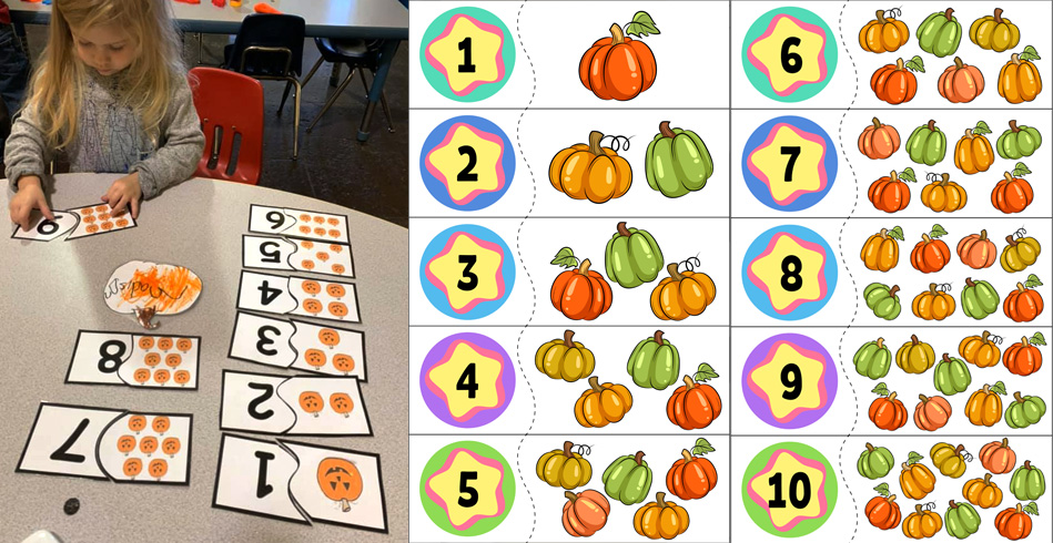 Printable Pumpkin Counting Puzzles