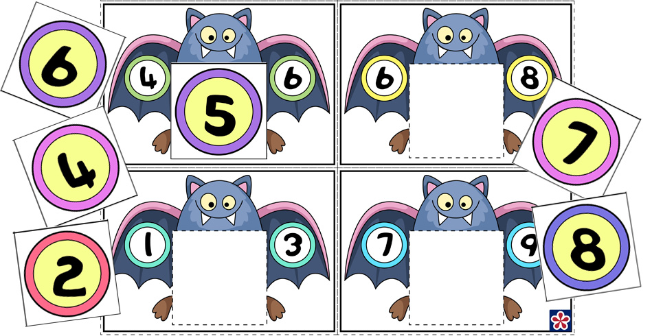 Bat-Themed Counting Worksheets for Preschool