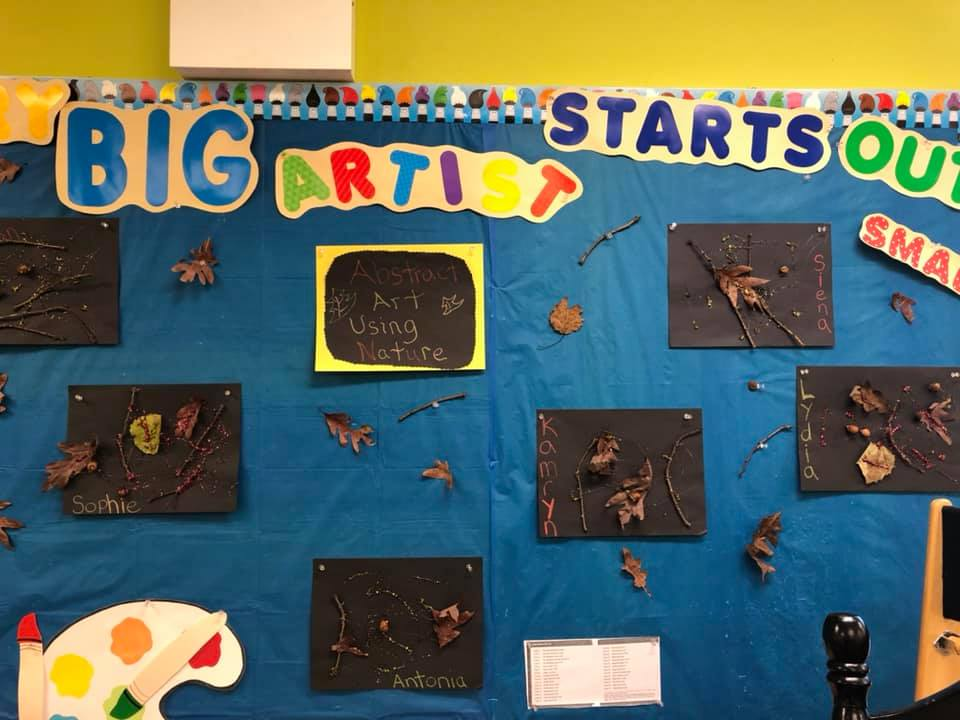 Mrs. K's Class makes abstract art using nature