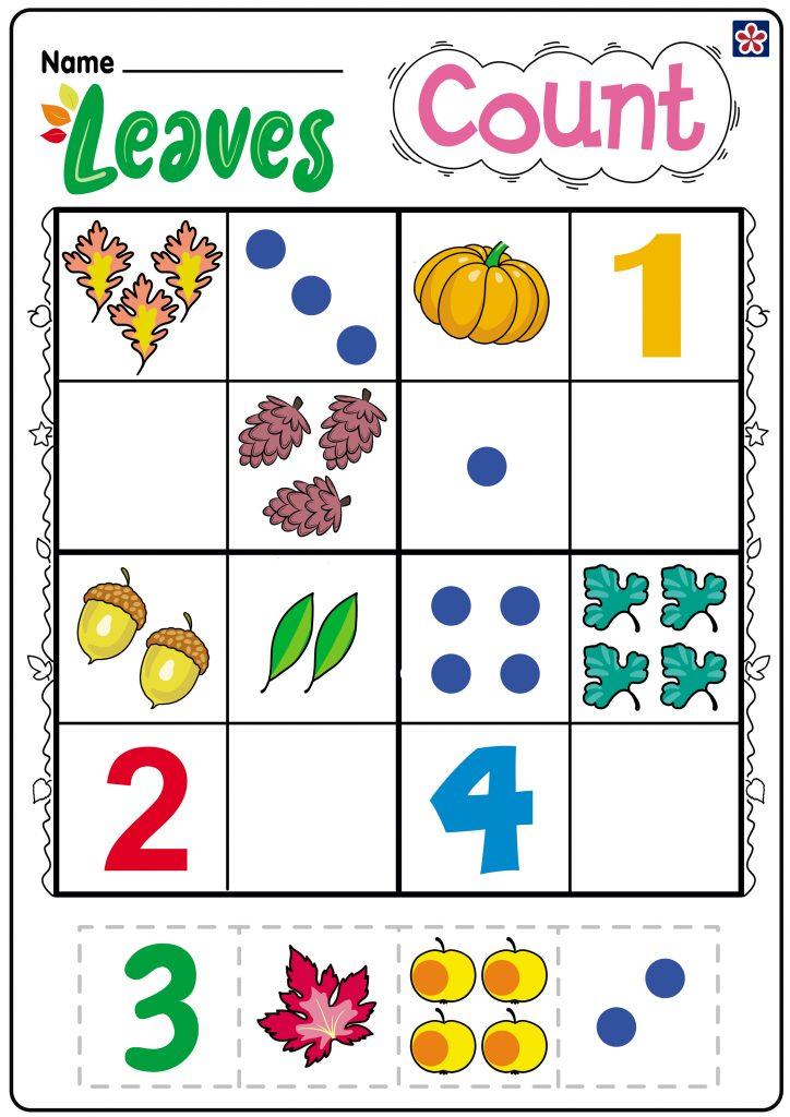 Leaves Count Worksheet