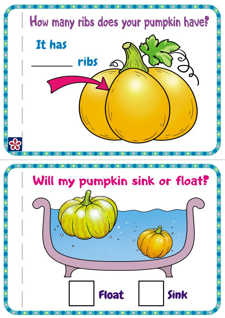 3 page.  How many ribs does your pumpkin have?  4 page. Will my pumpkin sink or float?