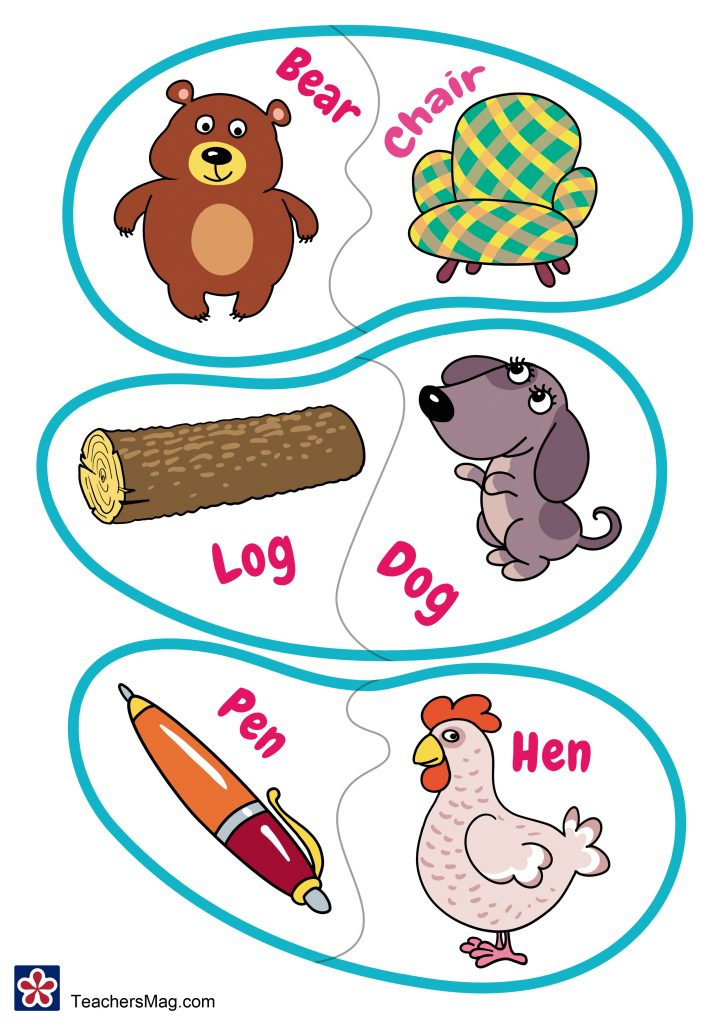 Matching and Rhyming Picture Card Printables