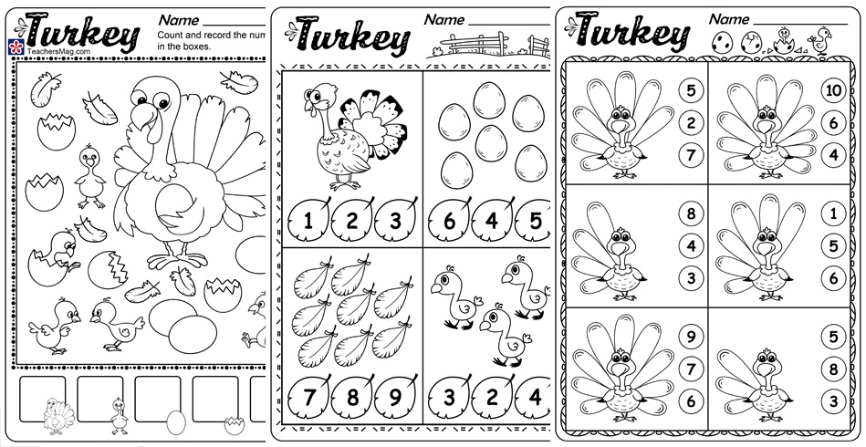 Turkey Counting Worksheets. TeachersMag.com