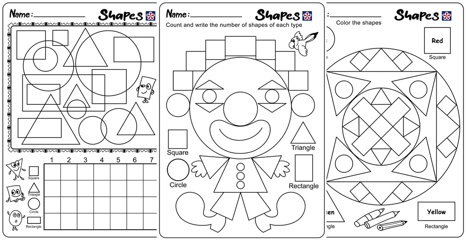 Shapes and Colors Worksheets for Kindergarten Students