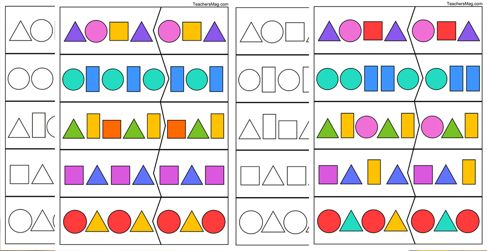 Shape Pattern Worksheets for Kindergartners