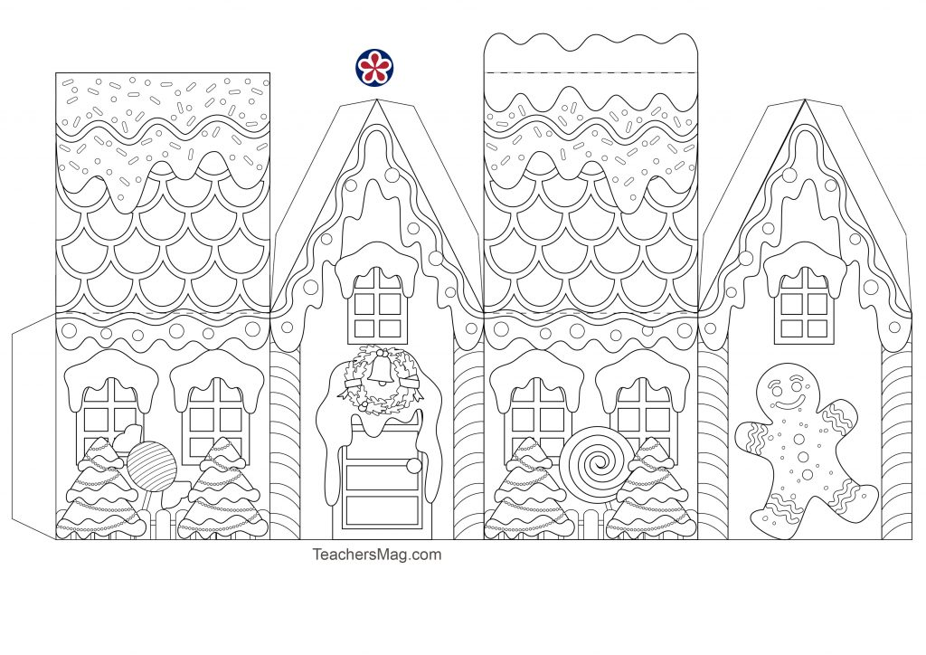 Free Gingerbread House Template from teachersmag.com