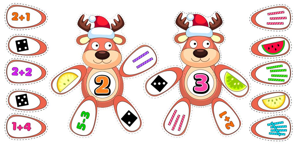 Reindeer-Themed Number Match Activity