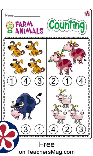 Farm-Themed Math Worksheets for Kindergartners