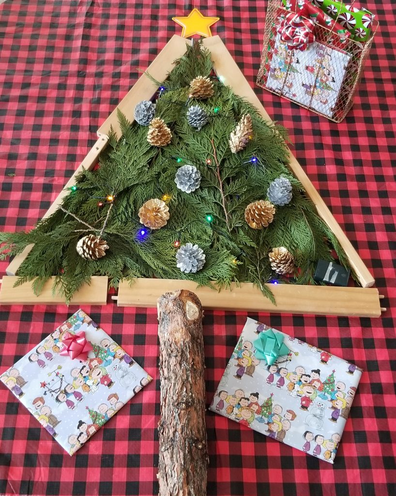 Christmas Tree Building Play Invitation Using Nature and Loose Parts