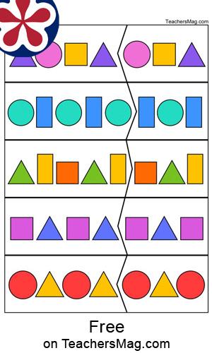 Shape Pattern Worksheets for Kindergartners