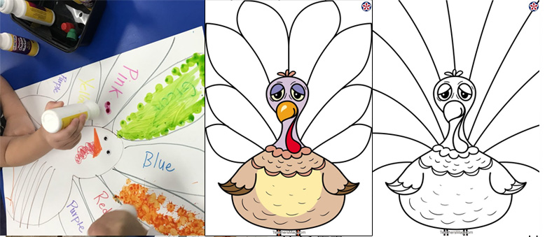 Free Printable Turkey-Themed Coloring Activities for Preschoolers